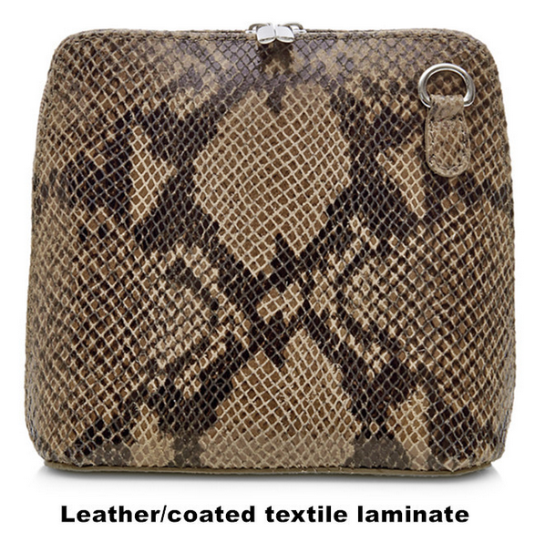 Dark Taupe Snake Design Leather Cross Body Bag