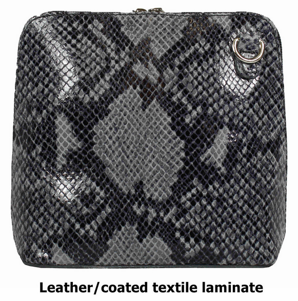 Light Grey Snake Design Leather Cross Body Bag