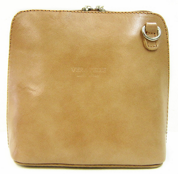 Light Taupe Leather Cross Body Bag