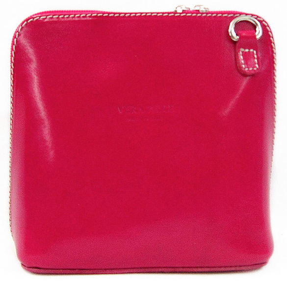 Fushia leather Cross Body Bag