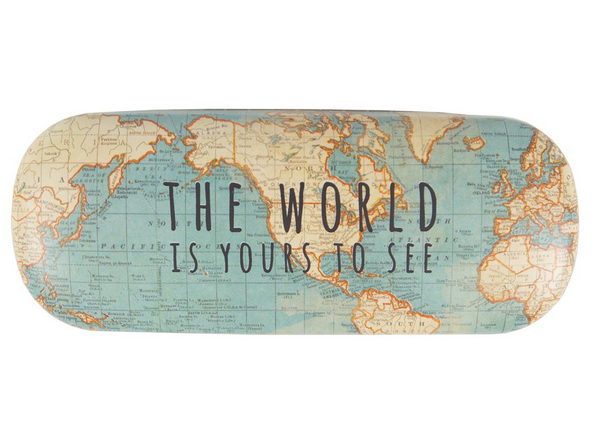 Vintage Map Glasses Case