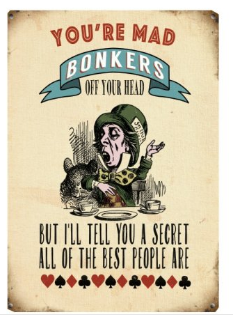 You're Mad Bonkers Mini Metal Hanging Sign