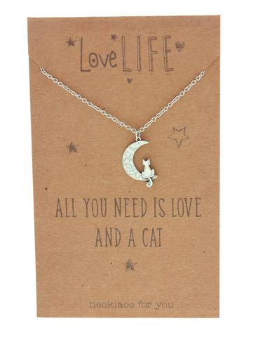 Love Life Love and a Cat Sentiment Necklace