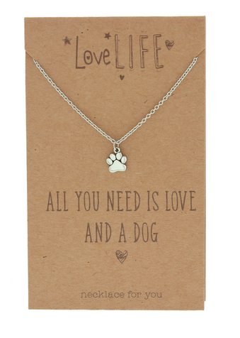 Love Life Love and a Dog Sentiment Necklace
