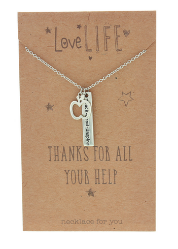 Love Life Thanks For All Your Help Sentiment Necklace