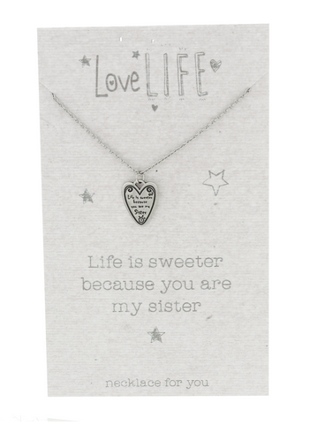 Love Life You Are My Sister Sentiment Necklace