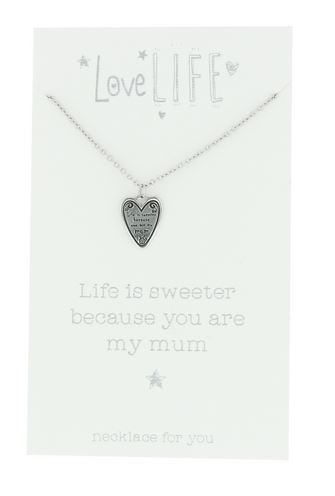 Love Life You Are My Mum Sentiment Necklace