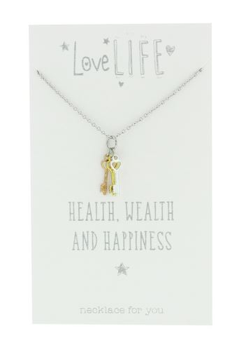 Love Life Health Wealth and Happiness Sentiment Necklace