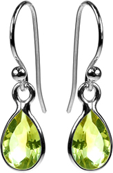 Silver Teardrop Peridot Earrings