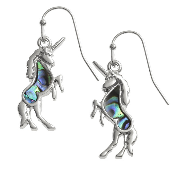 Paua Shell Unicorn Earrings