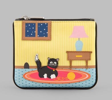 Playful Cat Y By YOSHI Leather Zip Top Coin Purse