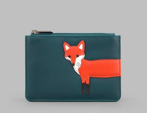 Fergus The Fox Zip Top Leather Purse Y By YOSHI