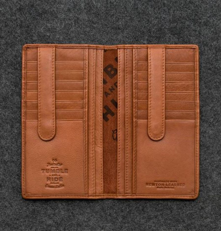 Tan Newton Leather Jacket Wallet