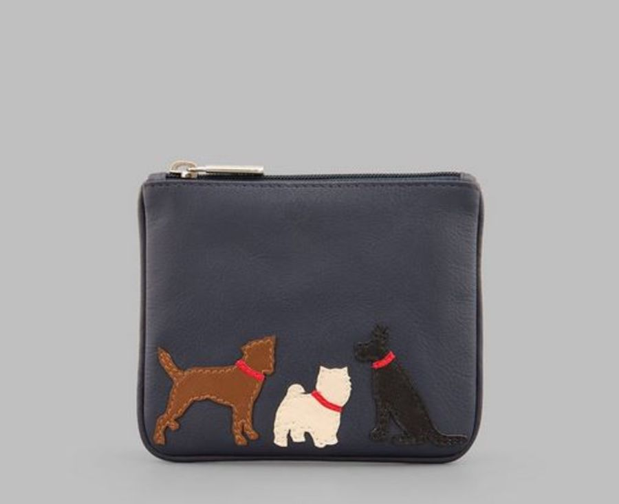 Paw-fect Pals Zip Top Navy Leather Purse