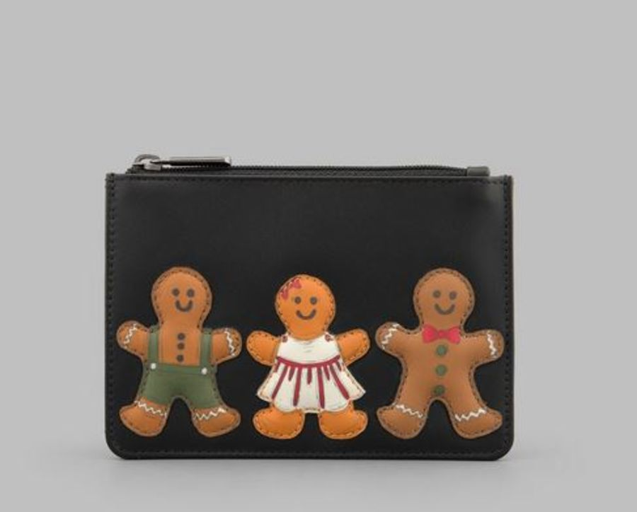 Gingerbread Gang Zip Top Leather Purse Y By YOSHI