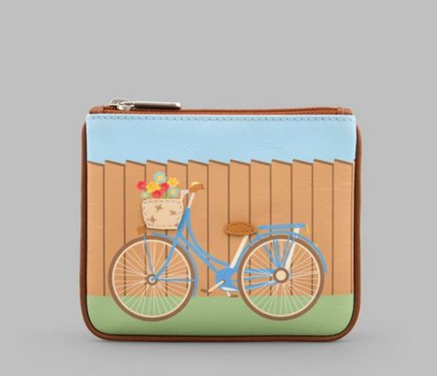 Bicycle Leather Zip Top Purse Y By YOSHI