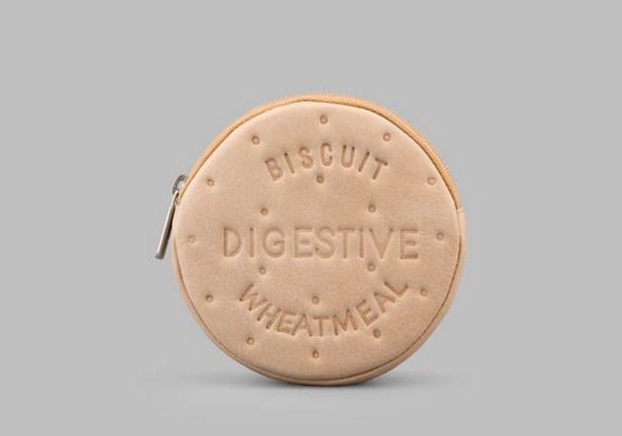 Digestive Biscuit Leather Zip Top Purse Y By YOSHI
