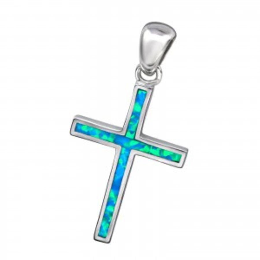 Plain Silver Faux Opal Cross Pendant & Chain