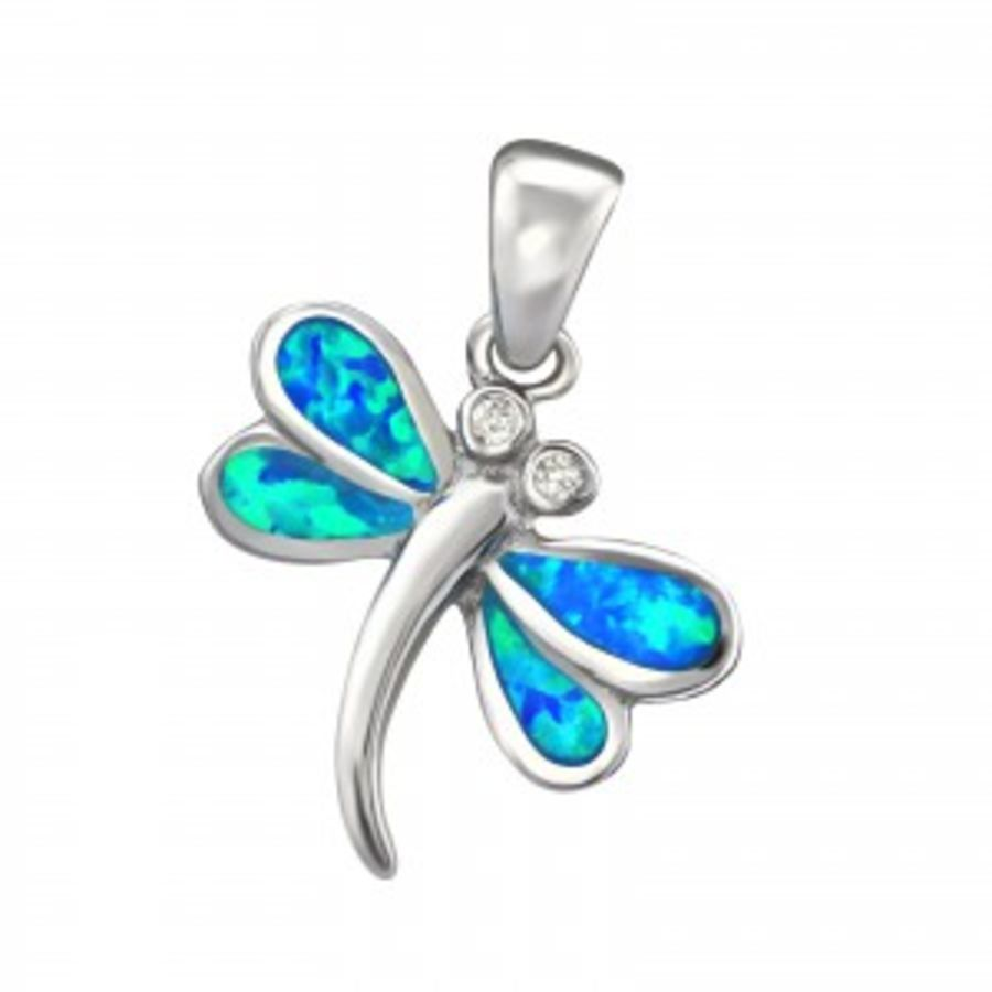 Silver Faux Opal Dragonfly Pendant & Chain