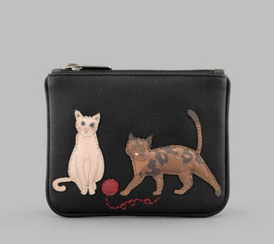 Cats Whiskers Black Zip Top Leather Purse Y By YOSHI
