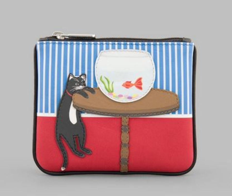 Cat & Fish Zip Top Leather Purse Y By YOSHI