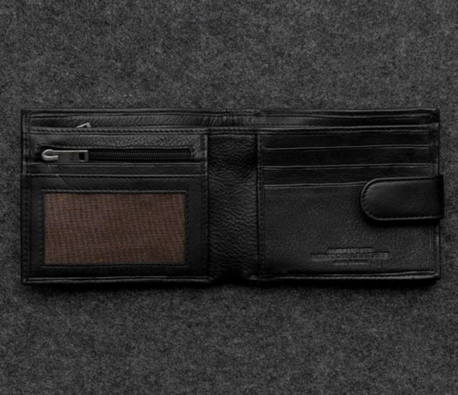 Black Newton Leather Replete Tray Wallet