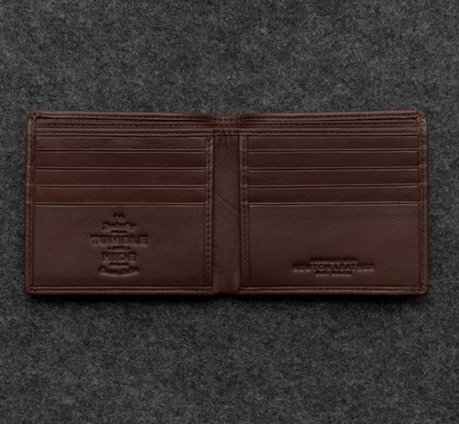 Brown Newton Leather East West Basal Slim Wallet