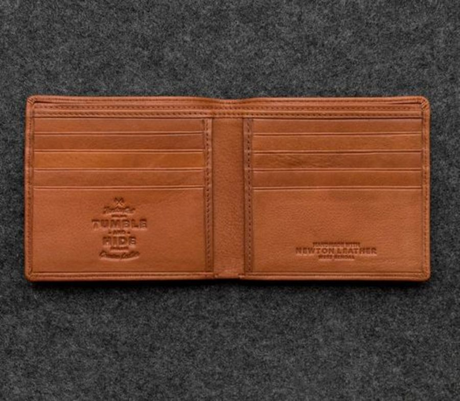 Tan Newton Leather East West Basal Wallet