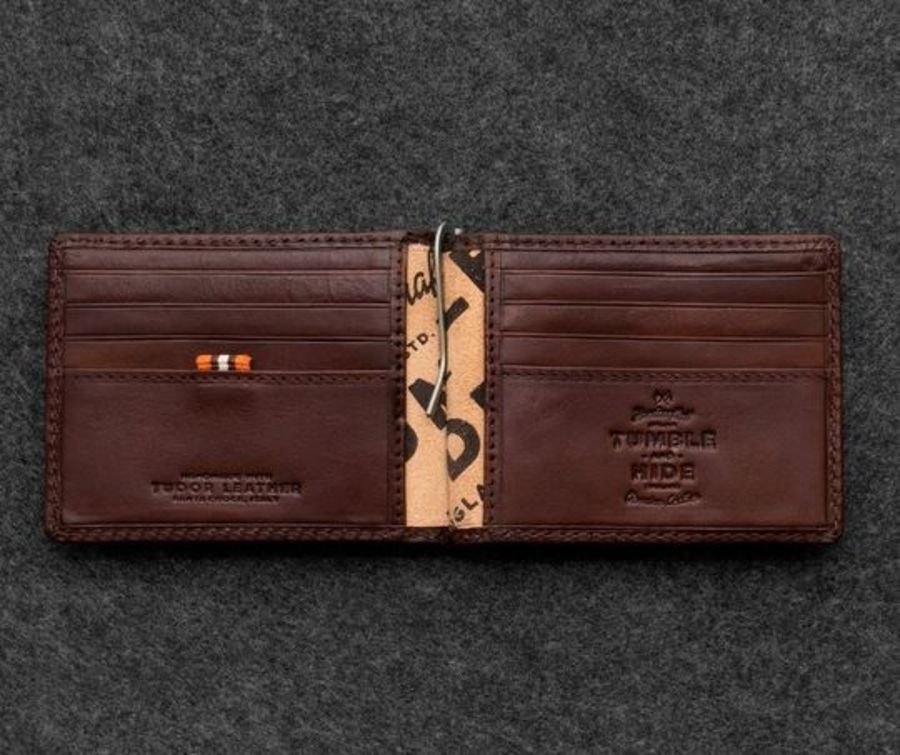 Brown Tudor Leather Money Clip Wallet