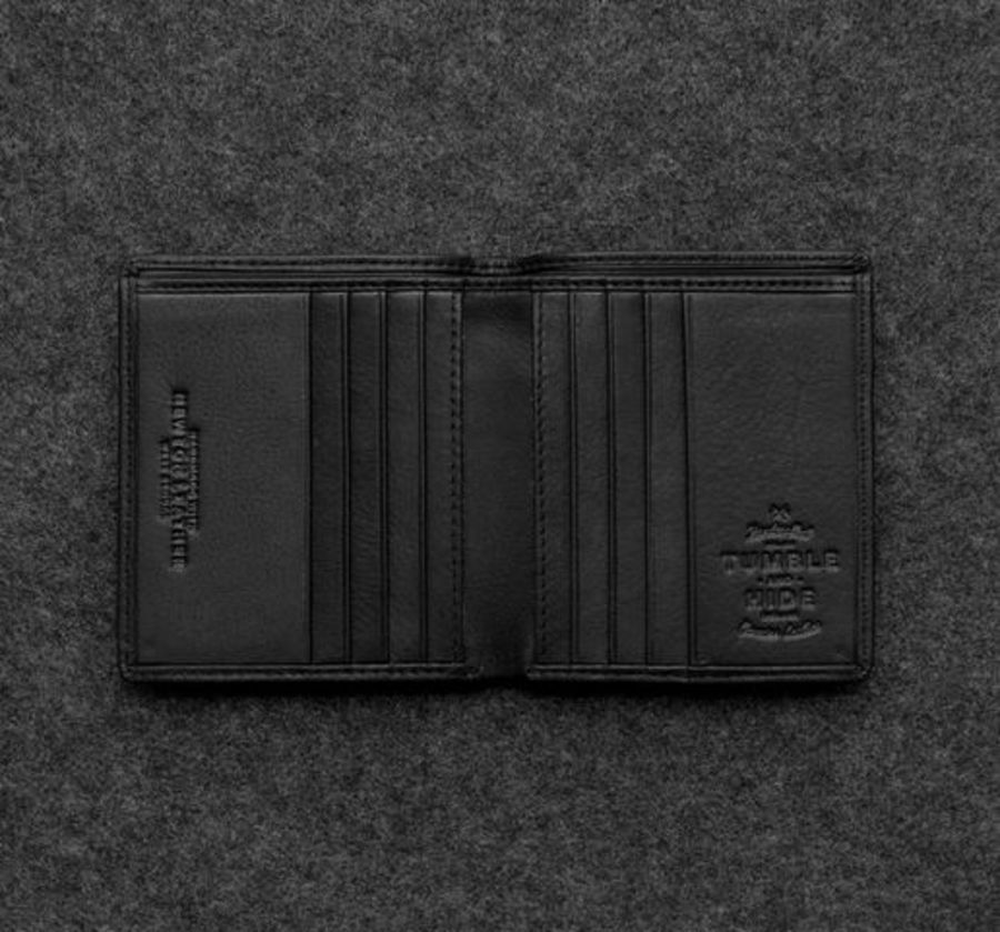 Black Newton Leather North South Basal Wallet