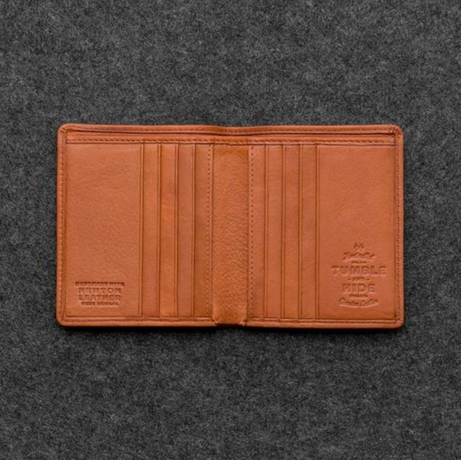 Tan Newton Leather North South Basel Wallet