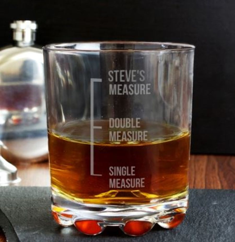 Engraved Measures Whisky Glass