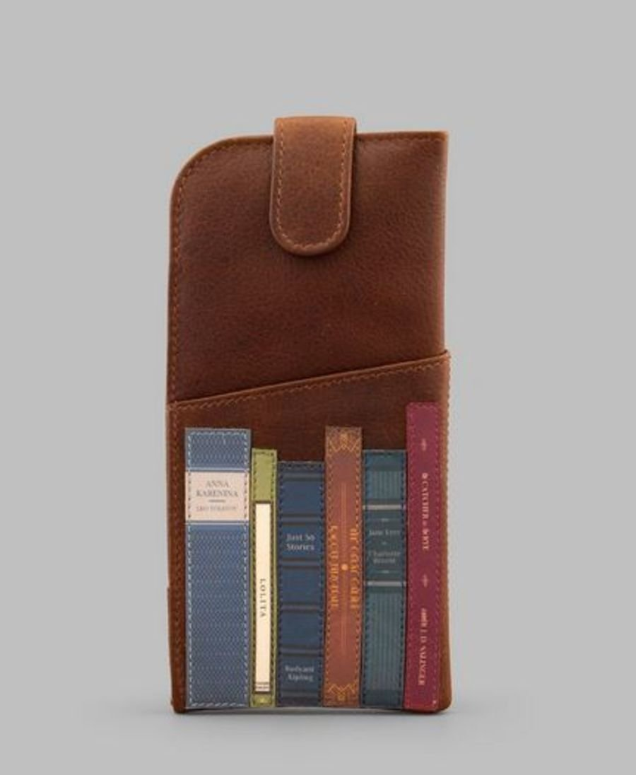 Brown leather Bookworm Glasses case by YOSHI
