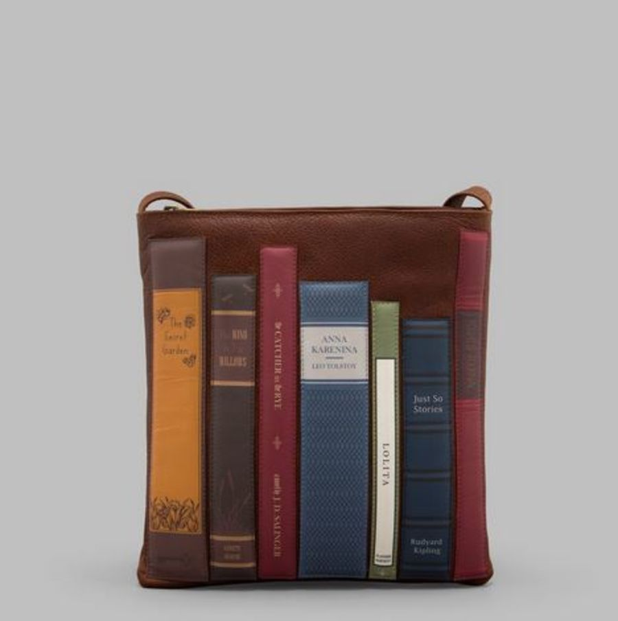 Brown Leather Bookworm Cross Body Bag by YOSHI