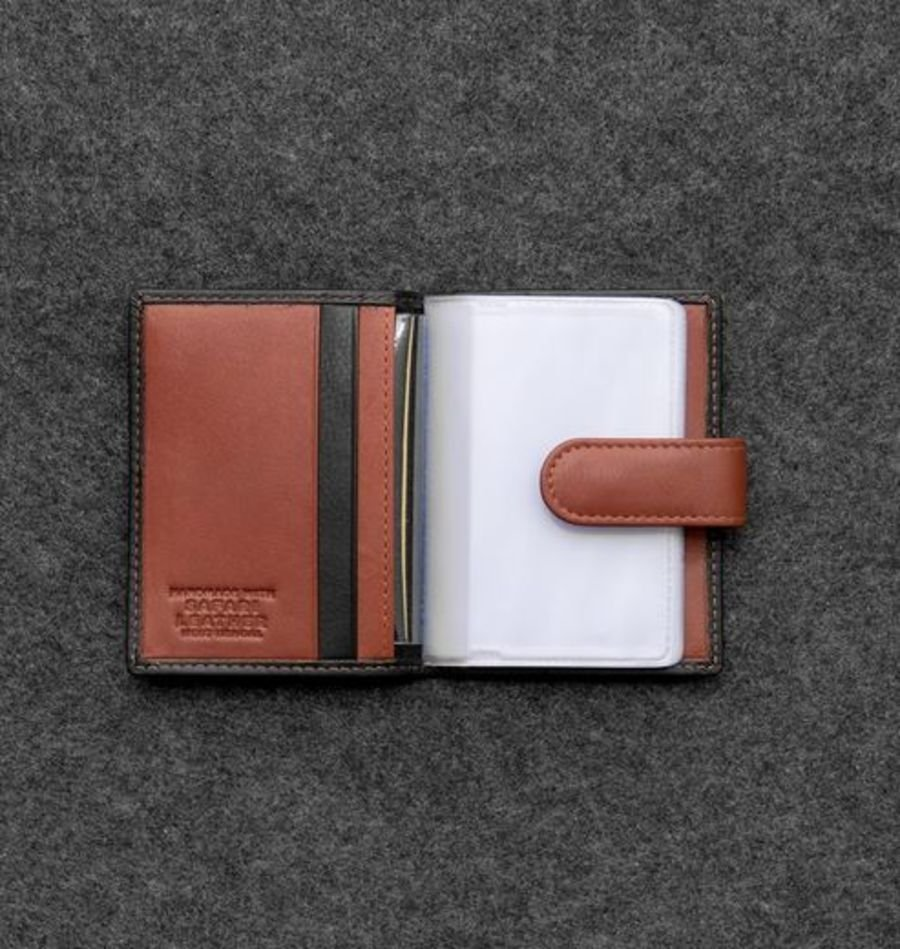 Black & Cognac Leather Credit Card Holder with RFID