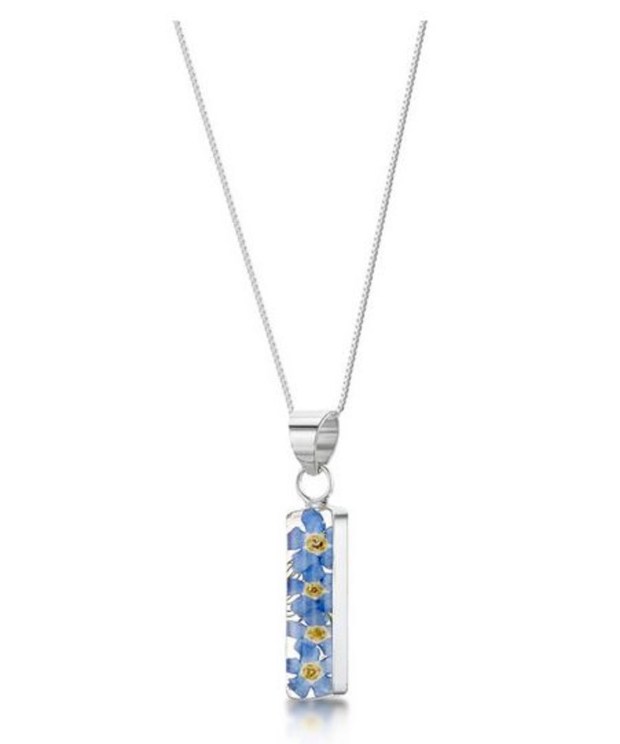 Silver Rectangle Forget-Me-Not Pendant