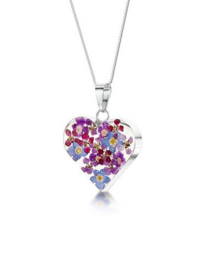 Silver Purple Haze Medium Heart Pendant