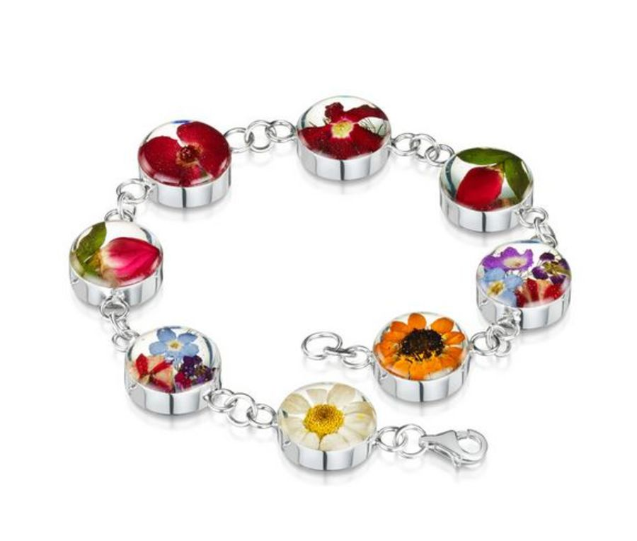 Silver Mixed Flower Large Round Bracelet