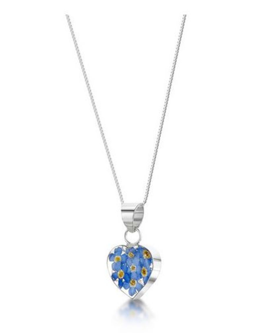 Silver Heart Forget-Me-Not Pendant
