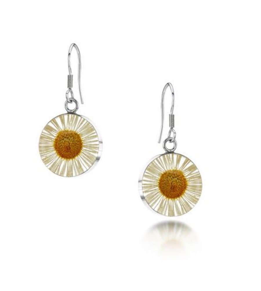 Silver Daisy Drop Earrings