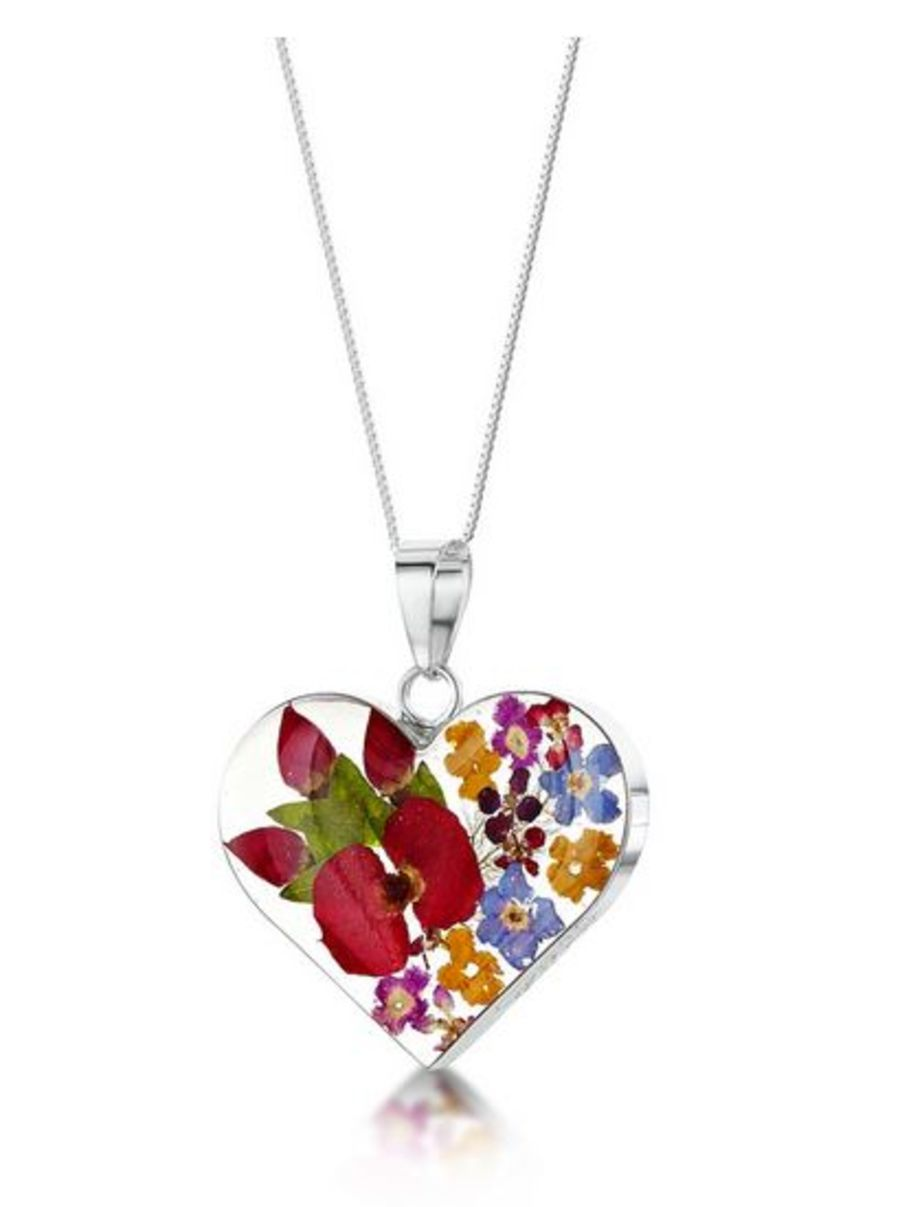 Silver Mixed Flower Heart Pendant