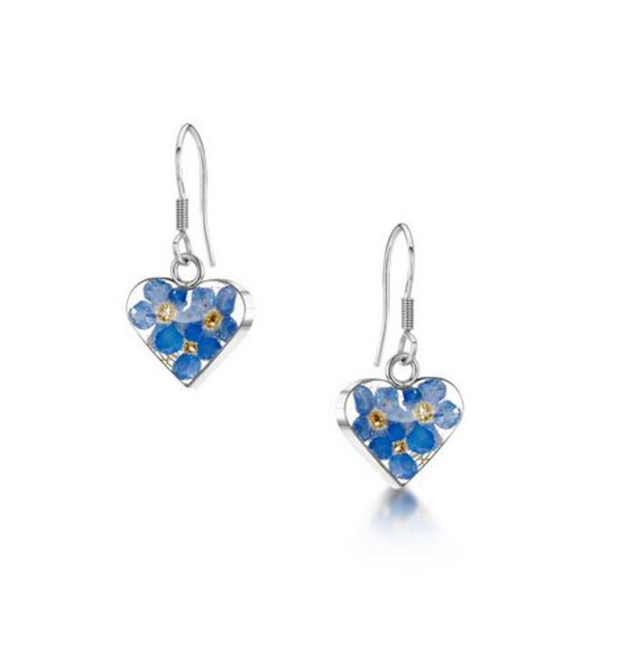 Silver Heart Forget-Me-Not Earrings