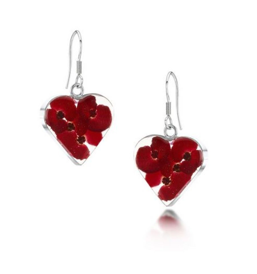 Silver Poppy Heart Earings