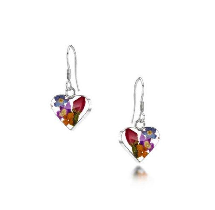 Silver Mixed Flowers & Yellow Heart Drop Earrings