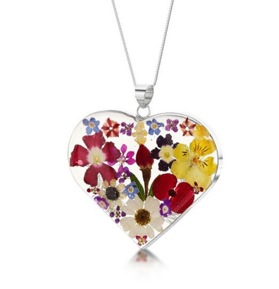 Silver Large Mixed Flower Heart Pendant