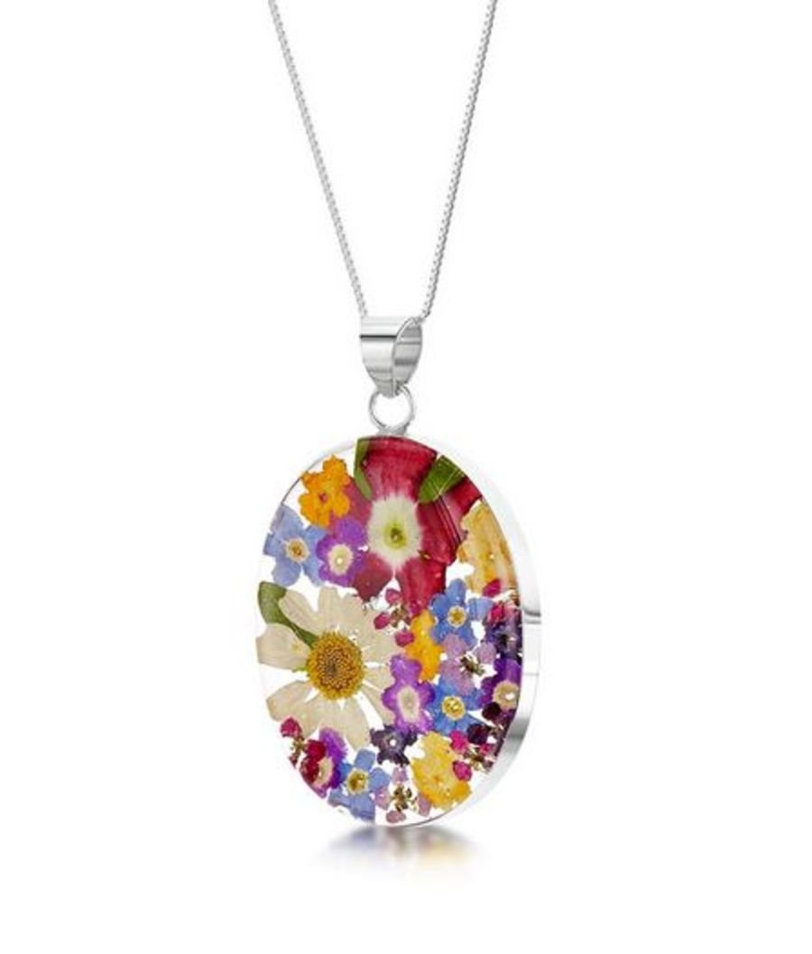 Silver Large Oval Mixed Flowers Pendant