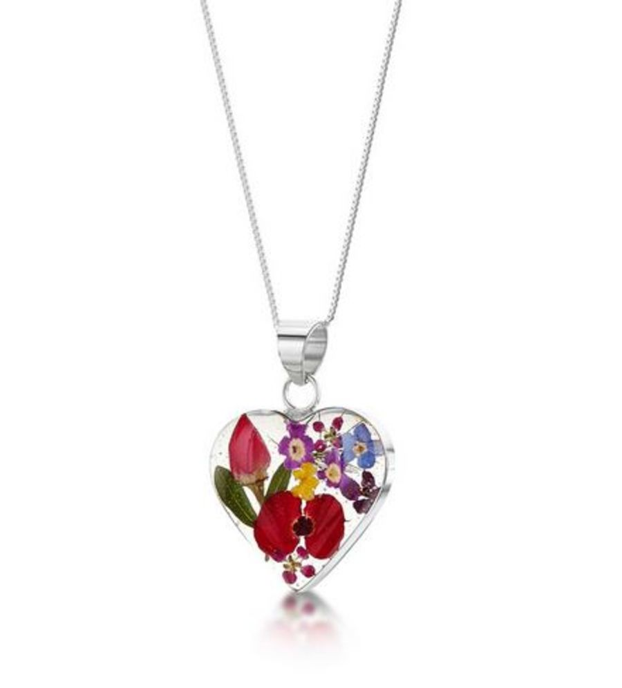 Silver Medium Mixed Flowers Heart Pendant