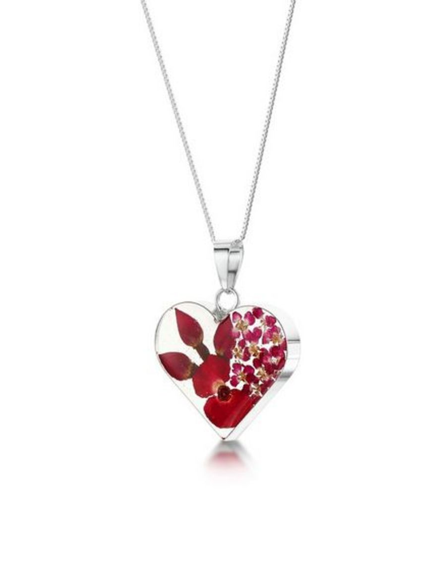 Silver Medium Heart Poppy & Rose Pendant