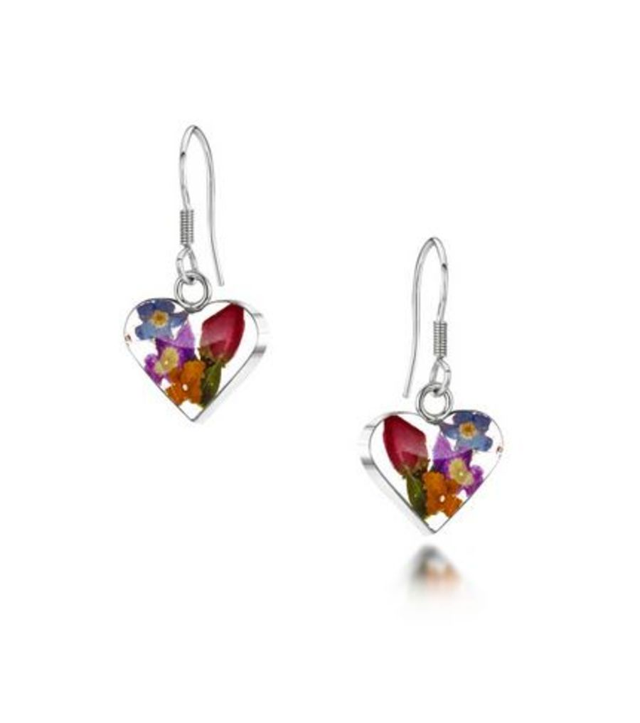 Silver Small Mixed Flowers & Yellow Heart Earrings