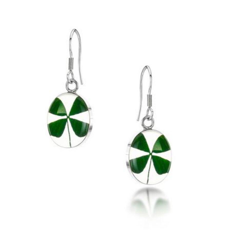Silver Four Leaf Clover Oval Earrings